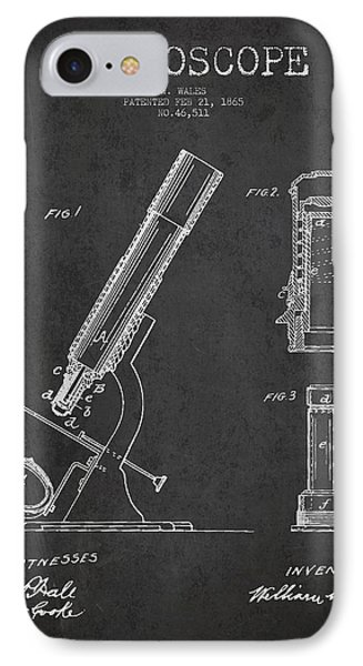 Microscope Patent Drawing From 1865 - Dark IPhone Case