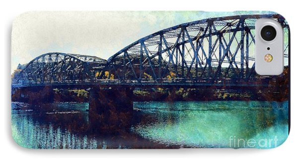 IPhone Case featuring the photograph Mid-delaware River Bridge by Janine Riley