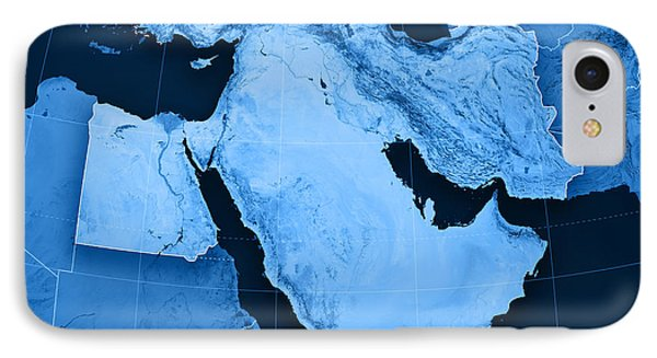 Middle East Topographic Map IPhone Case by Frank Ramspott