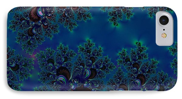 Midnight Blue Frost Crystals Fractal IPhone Case by Rose Santuci-Sofranko