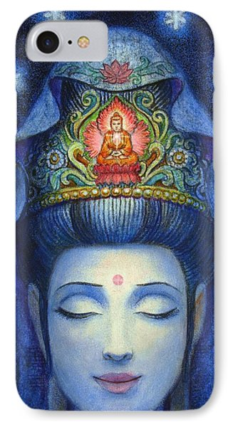 IPhone Case featuring the painting Midnight Meditation Kuan Yin by Sue Halstenberg