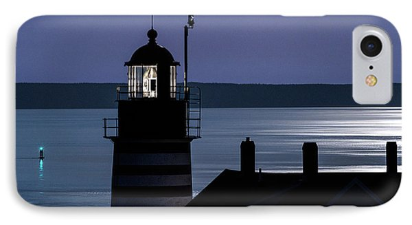 Midnight Moonlight On West Quoddy Head Lighthouse IPhone Case by Marty Saccone