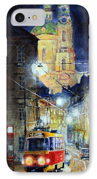 Midnight Tram  Prague  Karmelitska Str IPhone Case by Yuriy Shevchuk