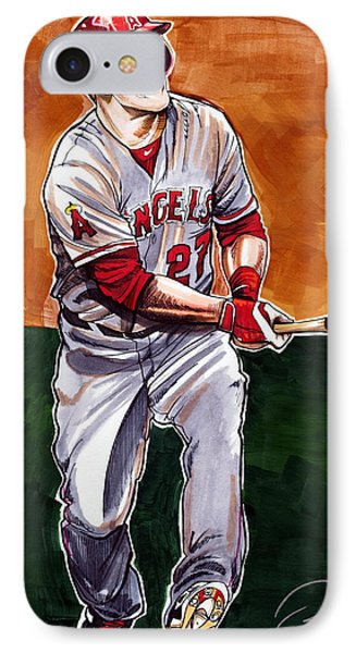 Mike Trout IPhone Case by Dave Olsen
