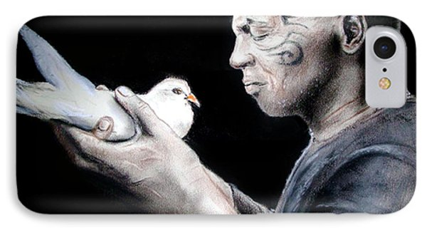 Mike Tyson And Pigeon IPhone Case by Jim Fitzpatrick