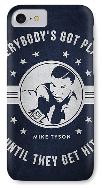 Mike Tyson - Navy Blue IPhone Case by Aged Pixel