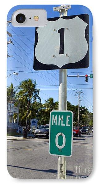 Mile Zero Key West Us Hwy 1 IPhone Case by Jason O Watson
