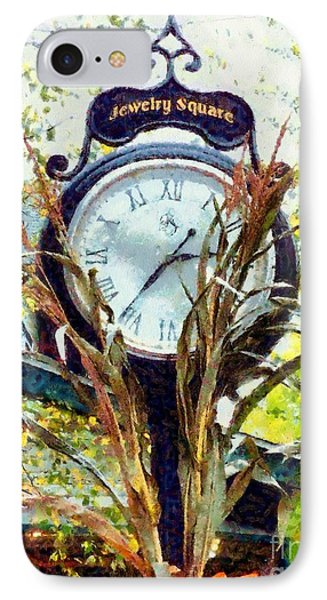 IPhone Case featuring the photograph Milford Pa - Jewelry Square Street Clock - Autumn by Janine Riley