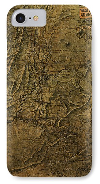 Military Map 1864 IPhone Case by Andrew Fare