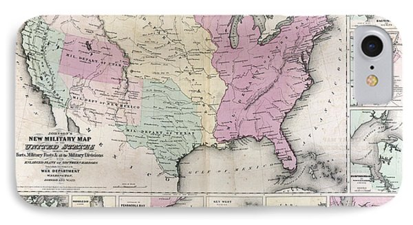 Military United States Map 1862 IPhone Case by Daniel Hagerman