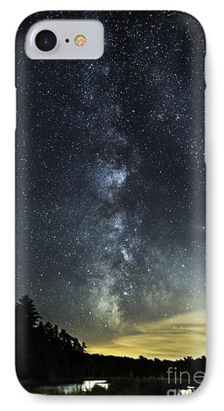 Milky Way Over Beaver Pond In Phippsburg Maine 2 IPhone Case by Patrick Fennell