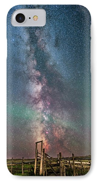 Milky Way Over The 76 Ranch Corral IPhone Case by Alan Dyer