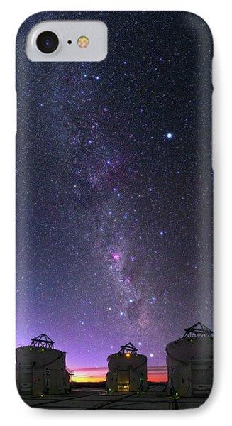 Milky Way Over Vlt Telescopes IPhone Case by Babak Tafreshi