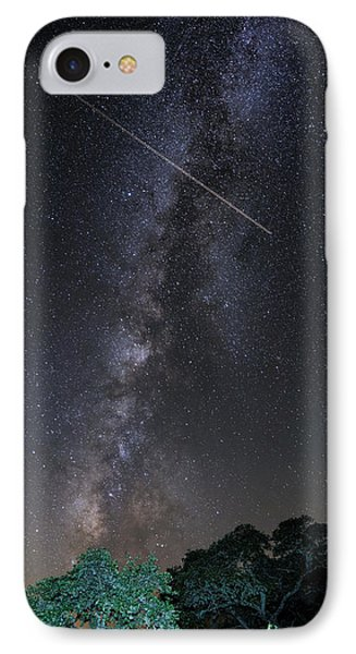 Milky Way Vertical Panorama At Enchanted Rock State Natural Area - Texas Hill Country IPhone 7 Case by Silvio Ligutti