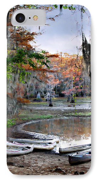 IPhone Case featuring the photograph Mill Pond Canoes by Lana Trussell