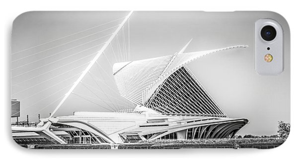 Milwaukee Art Museum Picture In Black And White IPhone Case by Paul Velgos