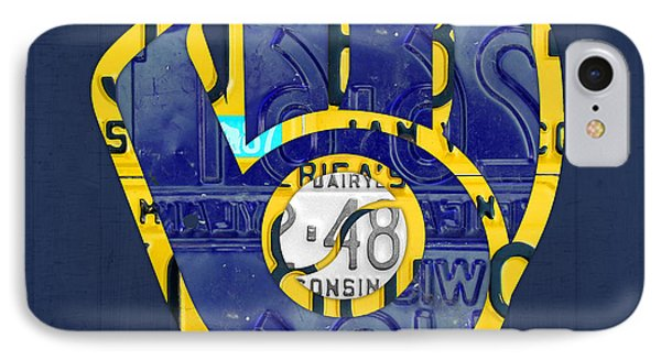 Milwaukee Brewers Vintage Baseball Team Logo Recycled Wisconsin License Plate Art IPhone Case