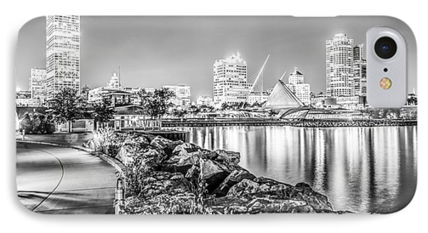 Milwaukee Skyline At Night Black And White Photo IPhone Case by Paul Velgos