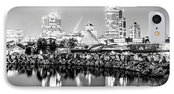 Milwaukee Skyline At Night Photo In Black And White IPhone Case by Paul Velgos