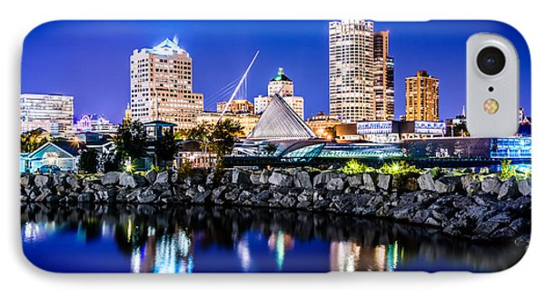 Milwaukee Skyline At Night Photo In Blue IPhone Case by Paul Velgos