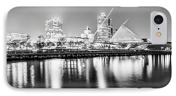 Milwaukee Skyline At Night Picture In Black And White IPhone Case by Paul Velgos