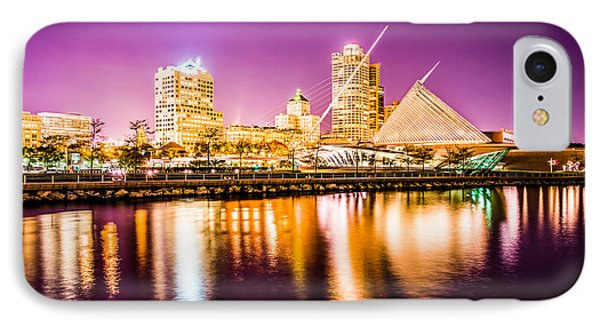 Milwaukee Skyline At Night Picture In Purple IPhone Case by Paul Velgos