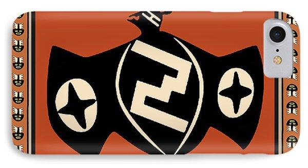 IPhone Case featuring the digital art Mimbres Tribal Bat Spirit by Vagabond Folk Art - Virginia Vivier