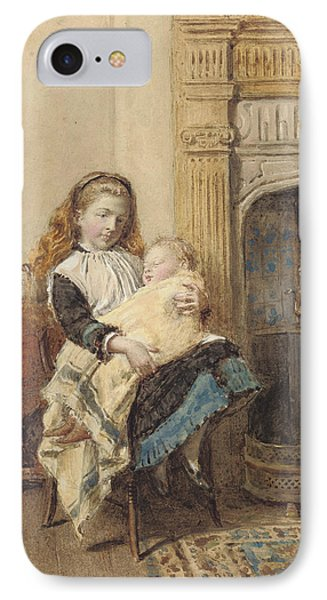 Minding Baby Phone Case by George Goodwin Kilburne