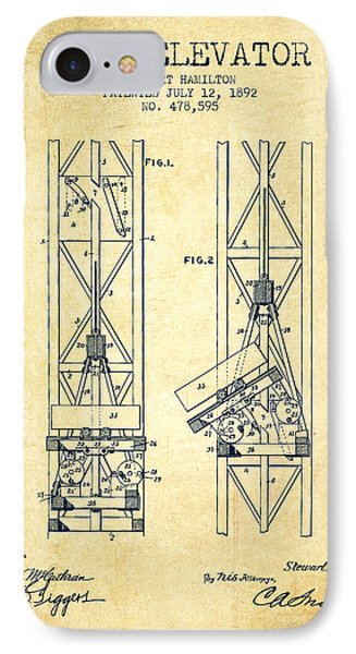 Mine Elevator Patent From 1892 - Vintage IPhone Case by Aged Pixel