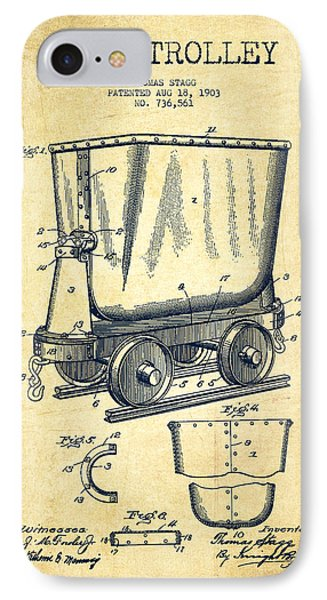 Mine Trolley Patent Drawing From 1903 - Vintage IPhone Case by Aged Pixel