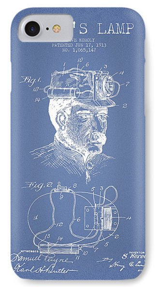 Miners Lamp Patent Drawing From 1913 - Light Blue IPhone Case by Aged Pixel