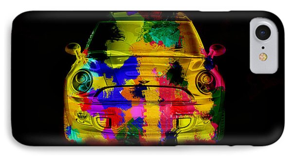 Mini Cooper Colorful Abstract On Black IPhone Case by Eti Reid