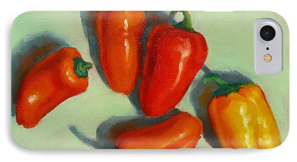 IPhone Case featuring the painting Mini Peppers Study 1 by Margaret Stockdale