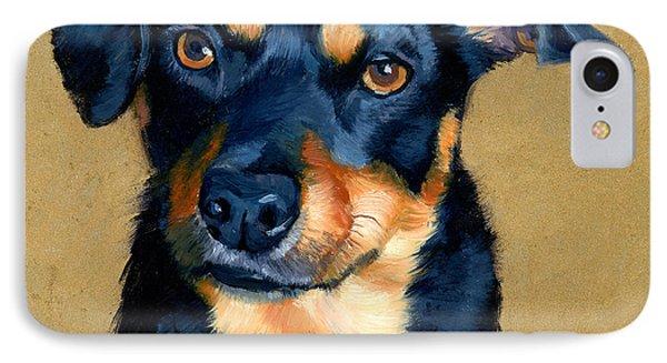 Miniature Pinscher Dog Painting IPhone Case by Alice Leggett
