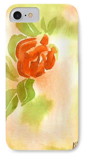 IPhone Case featuring the painting Miniature Red Rose II by Kip DeVore