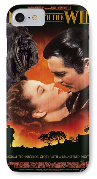 Miniature Schnauzer Art Canvas Print - Gone With The Wind Movie Poster IPhone Case by Sandra Sij
