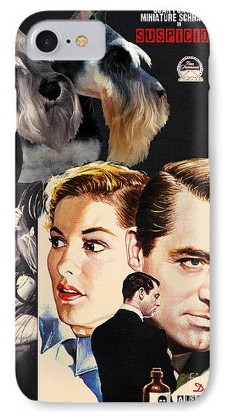 Miniature Schnauzer Art Canvas Print - Suspicion Movie Poster IPhone Case by Sandra Sij