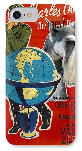 Miniature Schnauzer Art Canvas Print - The Great Dictator Movie Poster IPhone Case by Sandra Sij