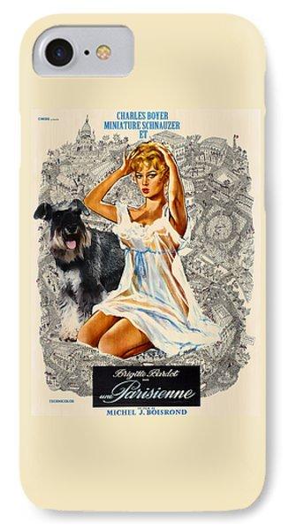 Miniature Schnauzer Art Canvas Print - Una Parisienne Movie Poster IPhone Case by Sandra Sij
