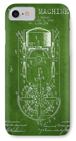 Mining Machine Patent From 1914- Green IPhone Case by Aged Pixel