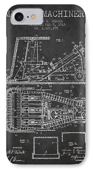Mining Machinery Patent From 1915- Charcoal IPhone Case by Aged Pixel