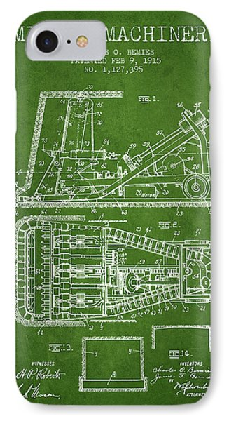 Mining Machinery Patent From 1915- Green IPhone Case by Aged Pixel