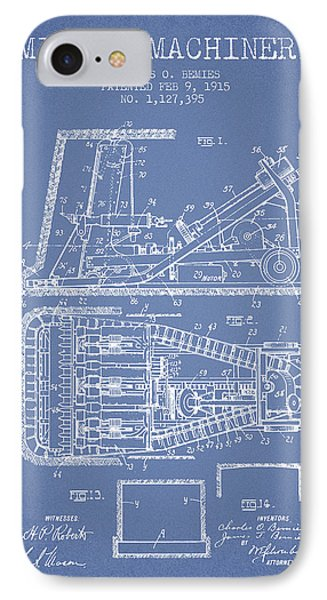 Mining Machinery Patent From 1915- Light Blue IPhone Case by Aged Pixel