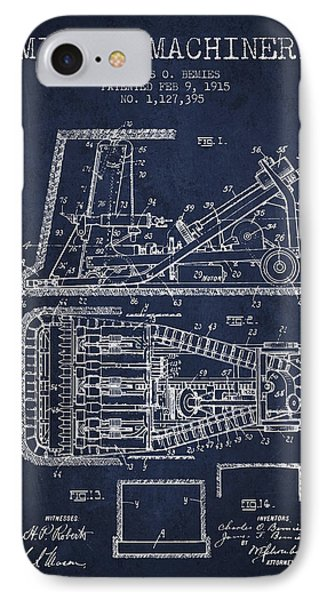 Mining Machinery Patent From 1915- Navy Blue IPhone Case by Aged Pixel