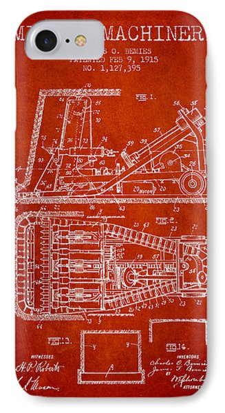 Mining Machinery Patent From 1915- Red IPhone Case by Aged Pixel