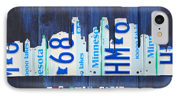 Minneapolis Minnesota City Skyline License Plate Art The Twin Cities IPhone Case