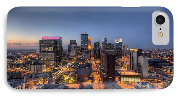 Marquette iPhone 7 Case - Minneapolis Skyline At Night by Wayne Moran