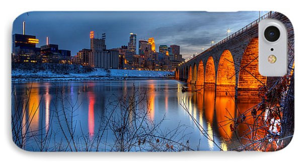 Minneapolis Skyline Images Stone Arch Bridge Spring Evening IPhone Case by Wayne Moran