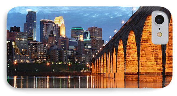 Minneapolis Skyline Photography Stone Arch Bridge IPhone Case by Wayne Moran