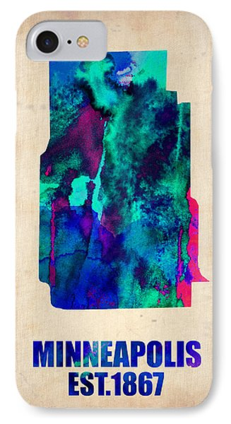 Minneapolis Watercolor Map IPhone Case by Naxart Studio